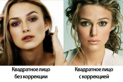Квадратное лицо и макияж