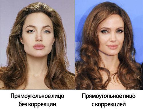 Прическа для прямоугольного типа лица